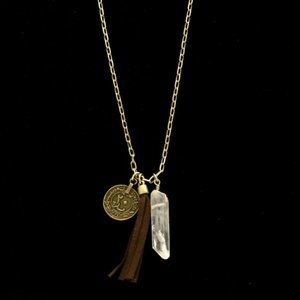 Express long gold and brown tassel necklace NWT